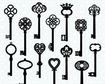 image black and white Fancy skeleton key clipart. Free pics of keys