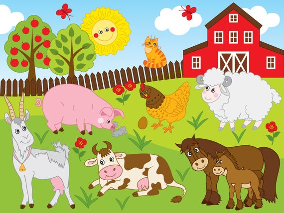 image library Farm animal clipart. Vector animals party clip