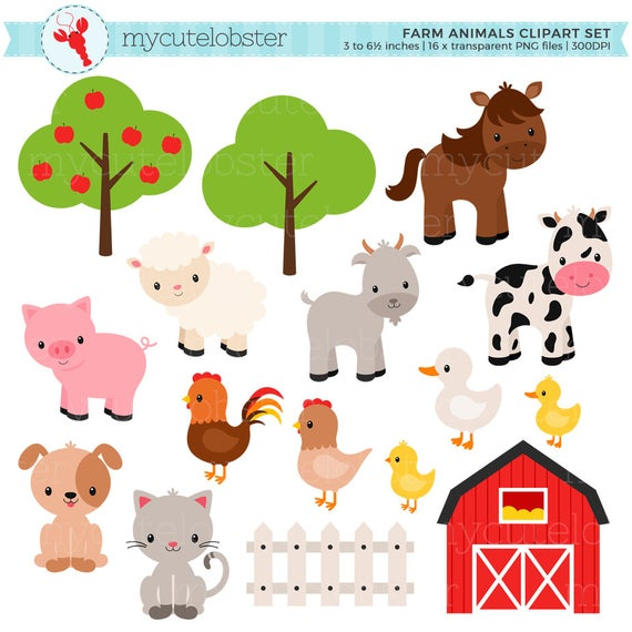 clip art royalty free library Farm animal clipart. Animals set barn farmyard