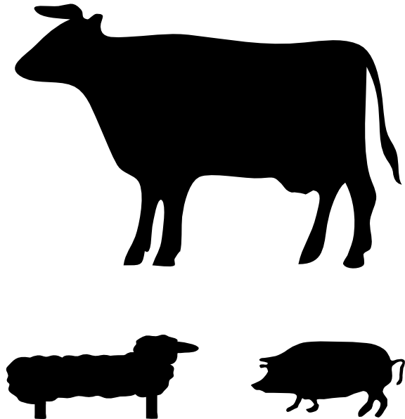 clipart library library Animals clip art at. Farm animal clipart black and white