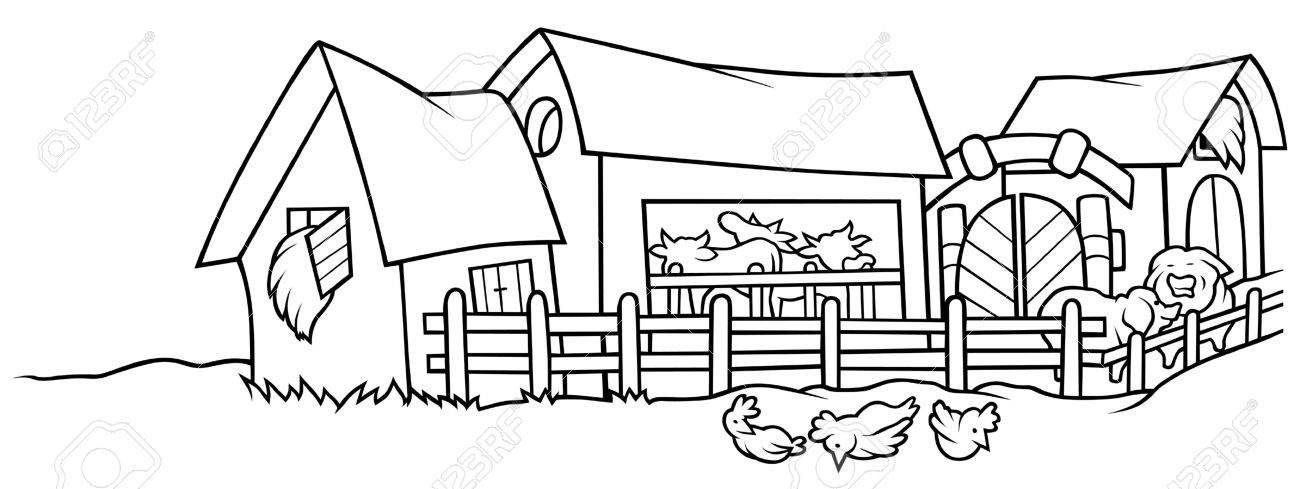 graphic transparent download Farm clipart black and white.  clipartlook