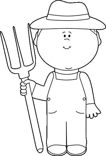 vector freeuse Farmer boy clip art. Hay clipart black and white