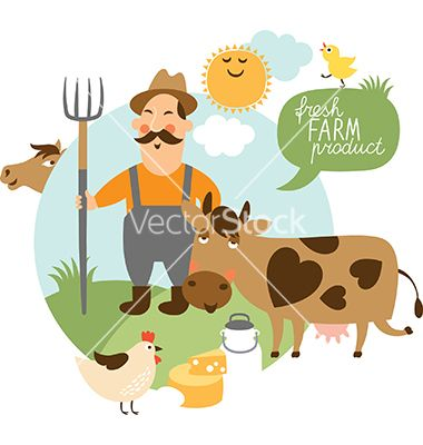 jpg Farmer and his farm vector