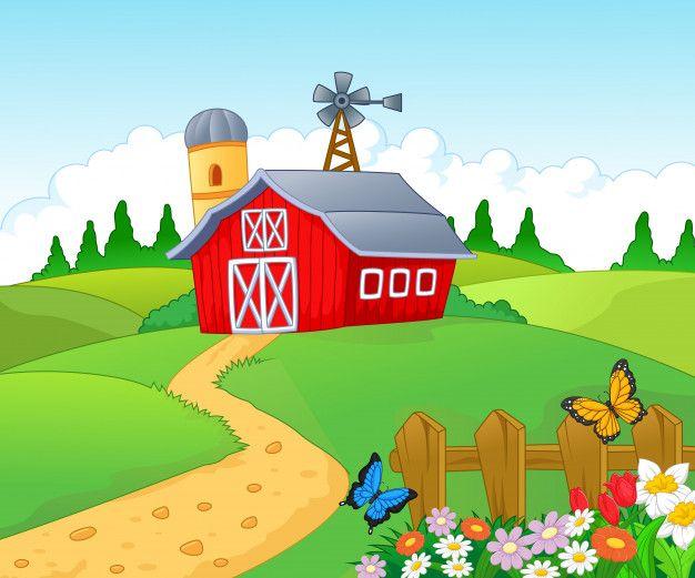 clip art free Farm background Premium Vector