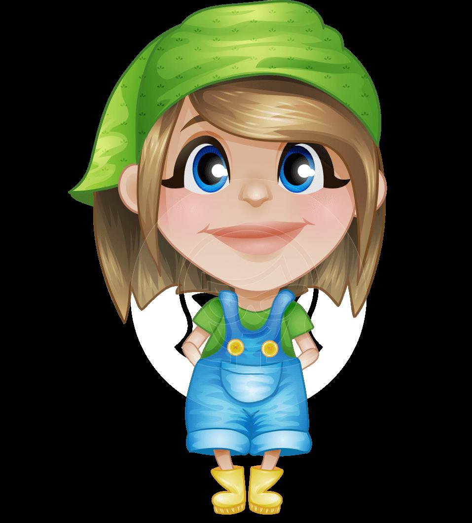 banner free Little farmer girl cartoon. Vector cartoons cute