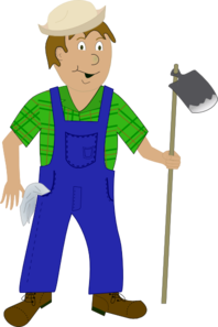 graphic transparent stock Farmers clipart. Cartoon farmer with hoe.