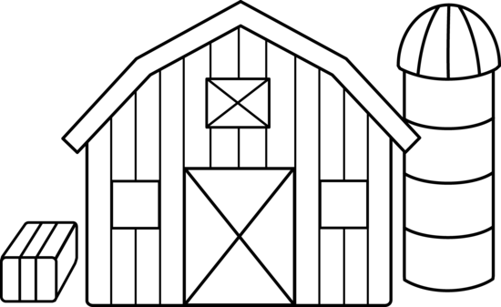 png black and white library Cute Colorable Farm Scene