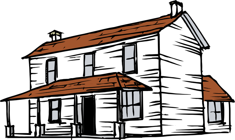 graphic royalty free library Farm . Yard clipart country house