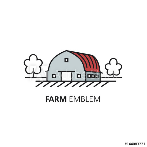 png royalty free Vector logo design template of farm symbol in linear style