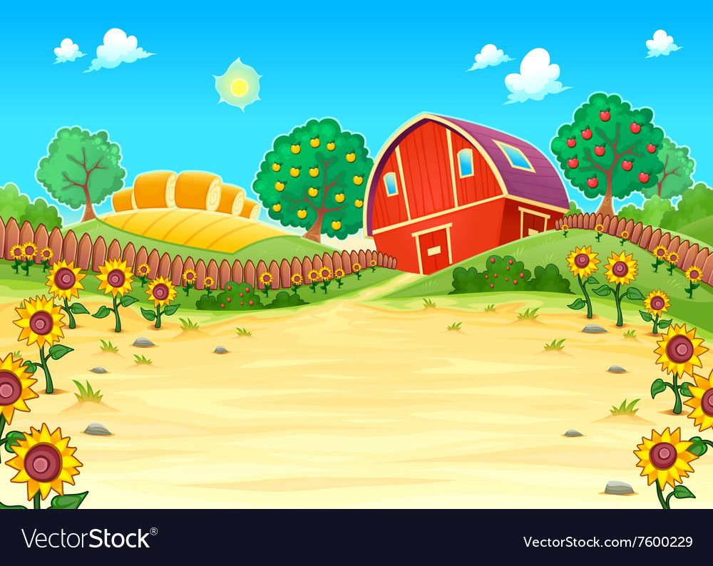 image royalty free library Funny landscape with the farm and sunflowers Vector Image