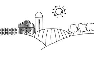 image free stock Cartoon barn image . Farm clipart black and white