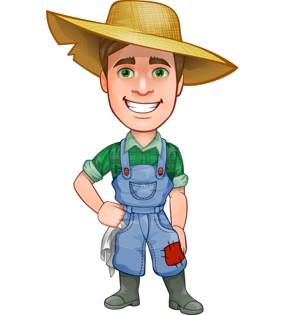 png royalty free A farmer man vector character illustrated in typical clothes for