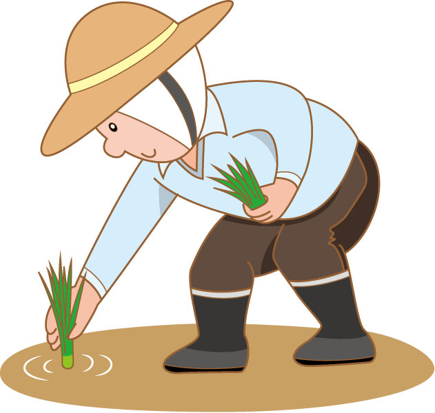 svg black and white Rice farm clipart