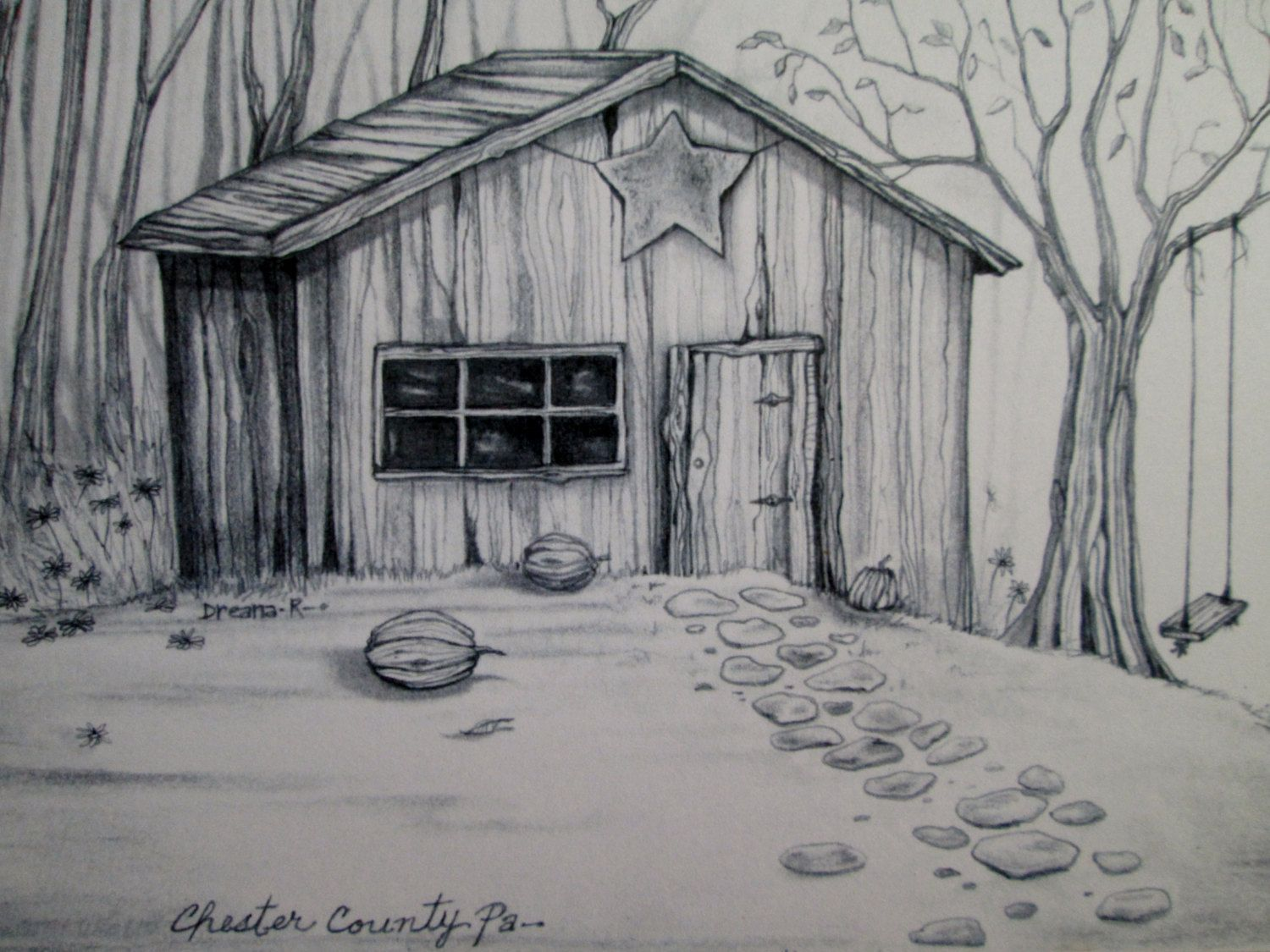vector freeuse Black and White Country Farm Shed Original Design Fine Art