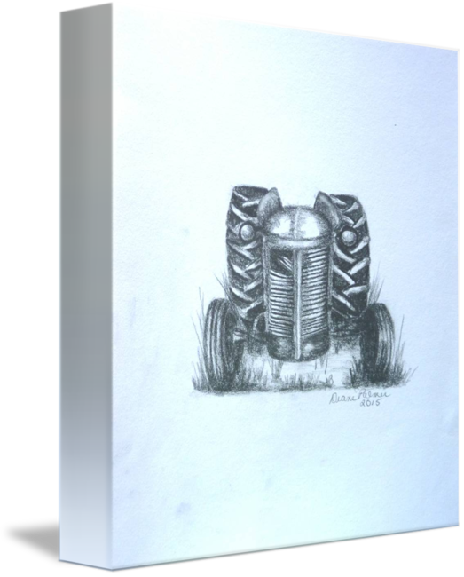 graphic black and white stock Old Farm tractor Drawing by Diane Palmer