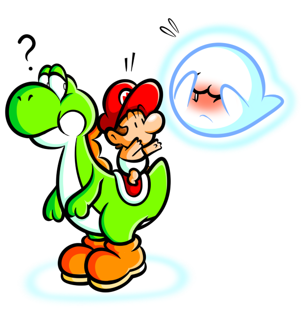 free stock Yoshi and Baby Mario with Boo by JamesmanTheRegenold