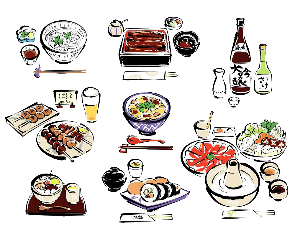 picture free download Sushi Japanese Cuisine Sake Drawing