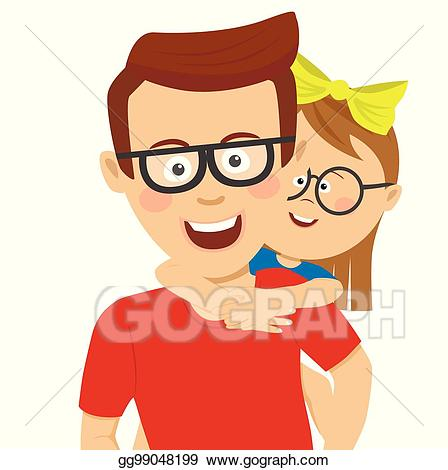 graphic freeuse stock Vector art happy father. Fathers clipart piggy back ride