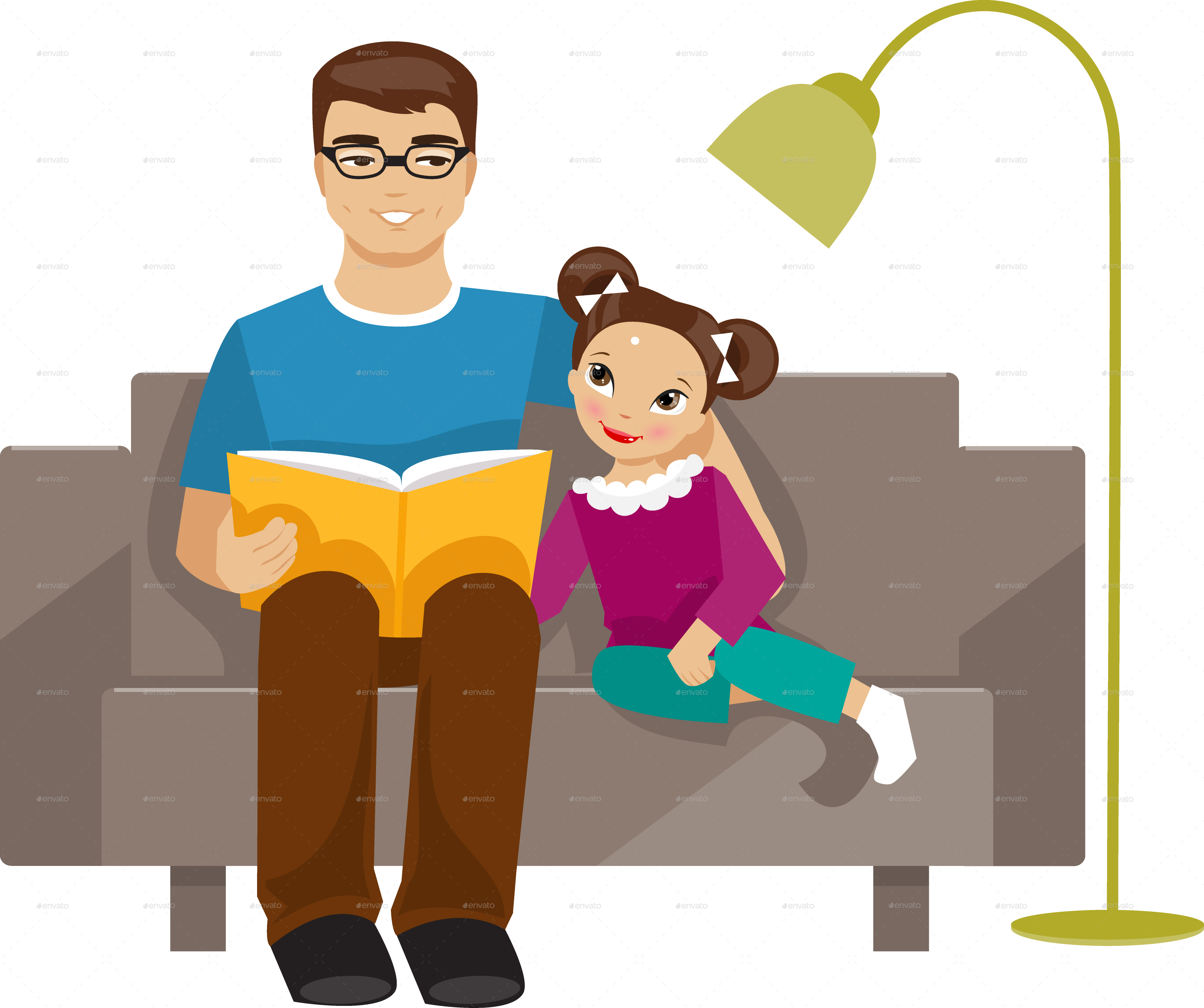 black and white Father daughter clip art. Fathers clipart read with dad
