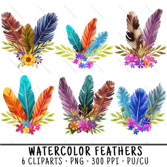clip transparent download Watercolor feathers clip art. Feather clipart