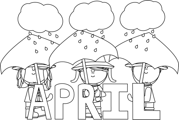 clipart download Month of april showers. January clipart black and white