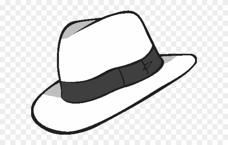 png black and white library Whit white transparent background. Fedora clipart