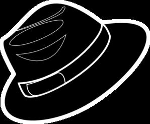 freeuse library Black stencil clip art. Fedora clipart.