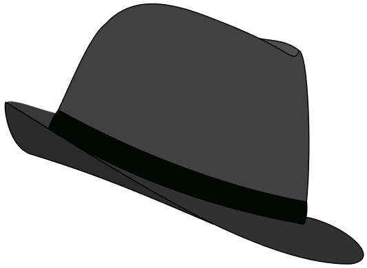 black and white Hat gray clothes hats. Fedora clipart.
