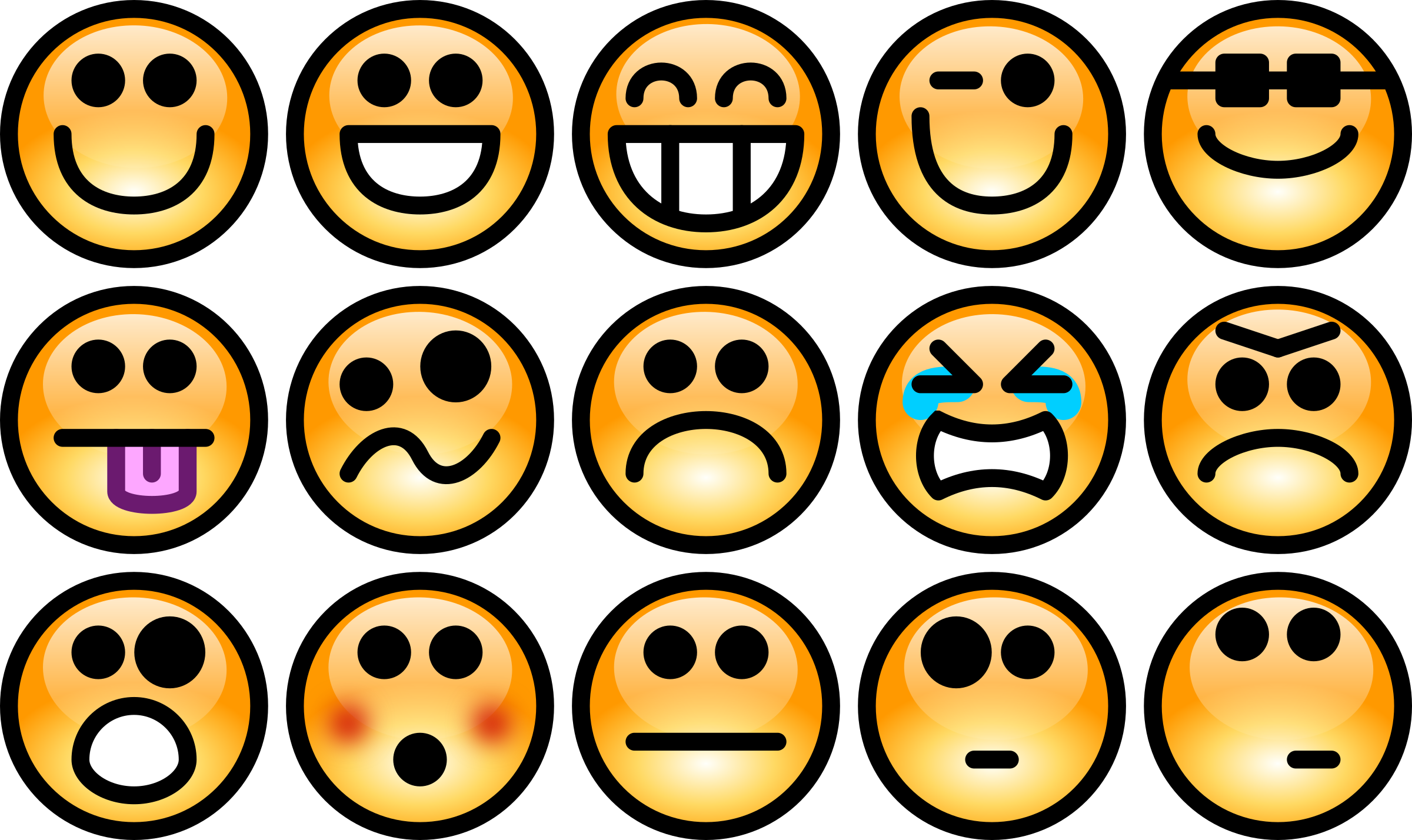 jpg royalty free library Glossy smiley set big. Feelings clipart