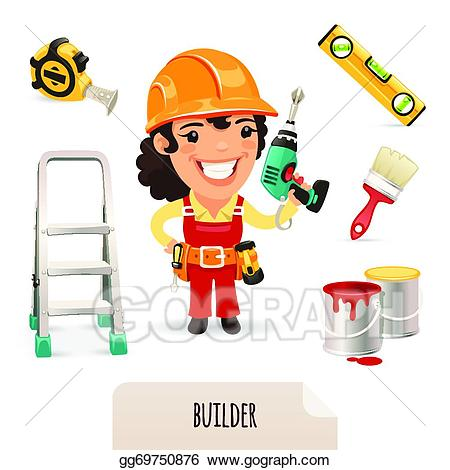 graphic Female clipart builder. Vector art builders icons