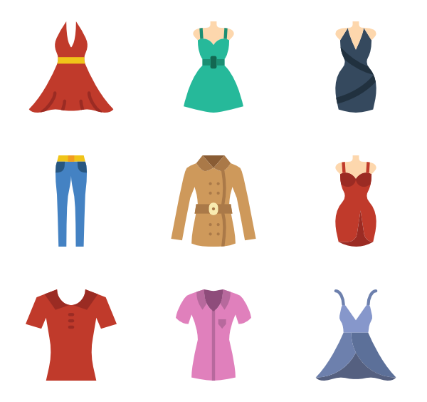 svg royalty free Vector clothing illustrator. Woman clothes icons free