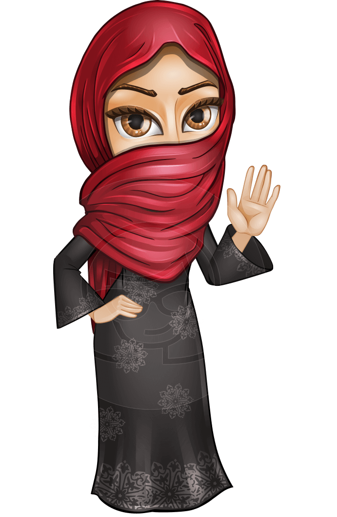 transparent library Najla the wide eyes. Hijab vector pop art
