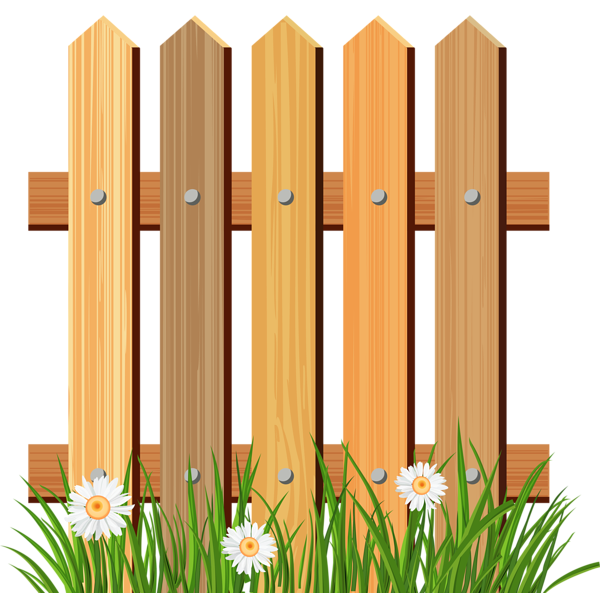 black and white download Wooden Garden Fence with Grass PNG Clipart