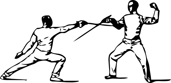 image black and white Fencing Practice Clip Art at Clker