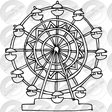 jpg free download Outline for classroom therapy. Ferris wheel clipart black and white