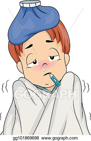 royalty free stock Vector art kid boy. Fever clipart