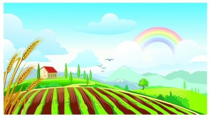 png freeuse stock Field clipart. Farm clipartfest rainbow mural.