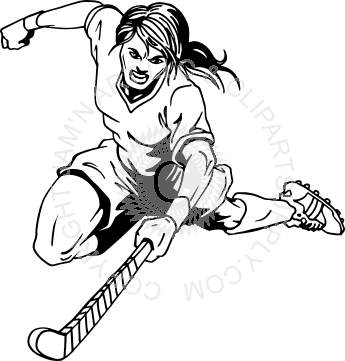 black and white library Hockey player clipart black and white. Leaping girl field