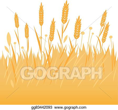 clipart transparent library Eps vector barley or. Field of wheat clipart