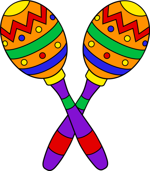 clip library stock Colorful maracas design craft. Guitar clipart fiesta