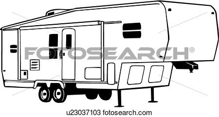 vector transparent download Camper clip art sketch. Fifth wheel clipart.