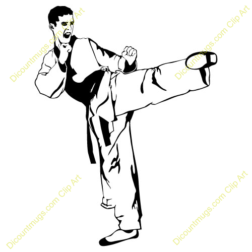 vector black and white download Fighter clipart. Karate clip art panda.