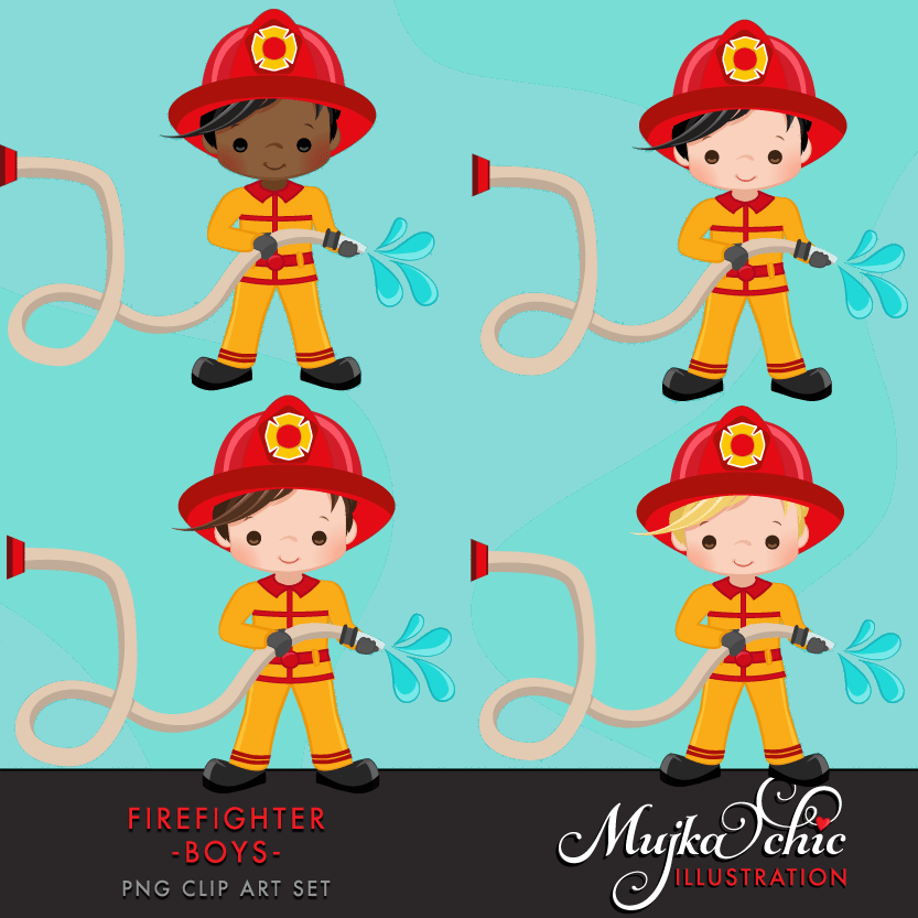 clip black and white stock Fire fighter boys clipart