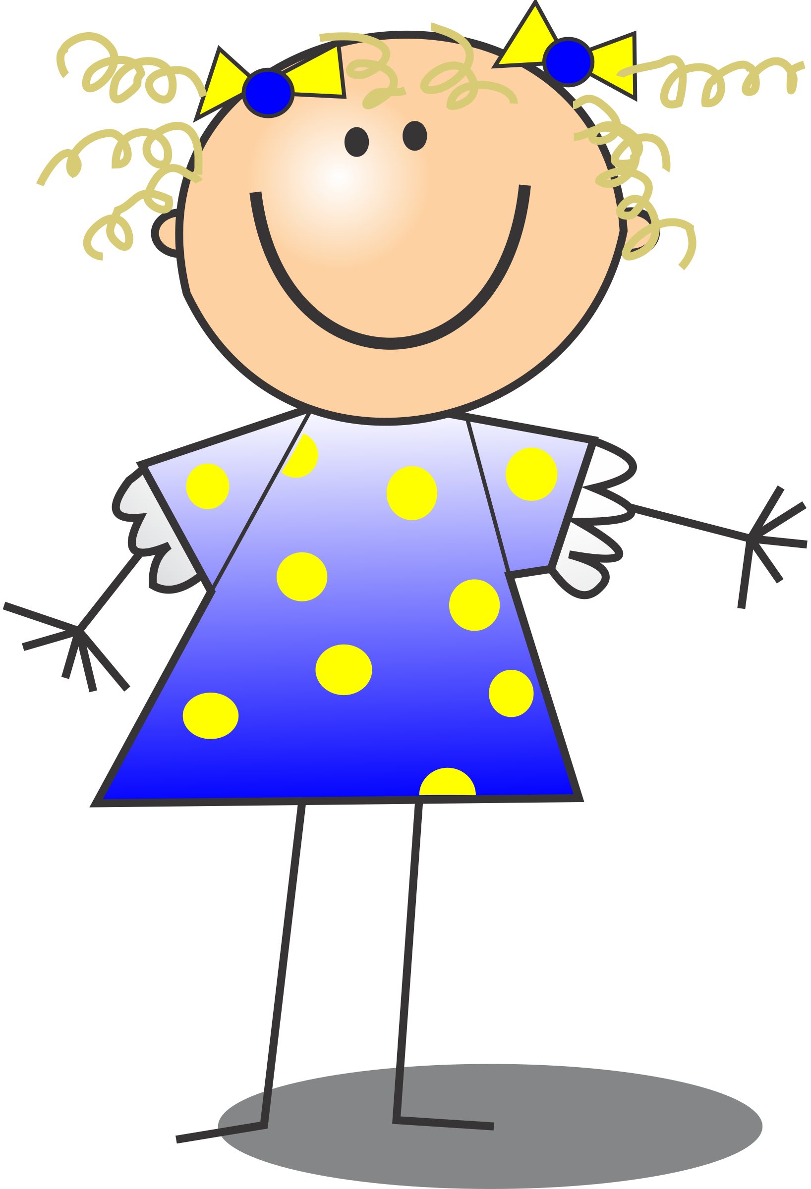 banner stock Stick kid clipart. Girl smiling figure curly