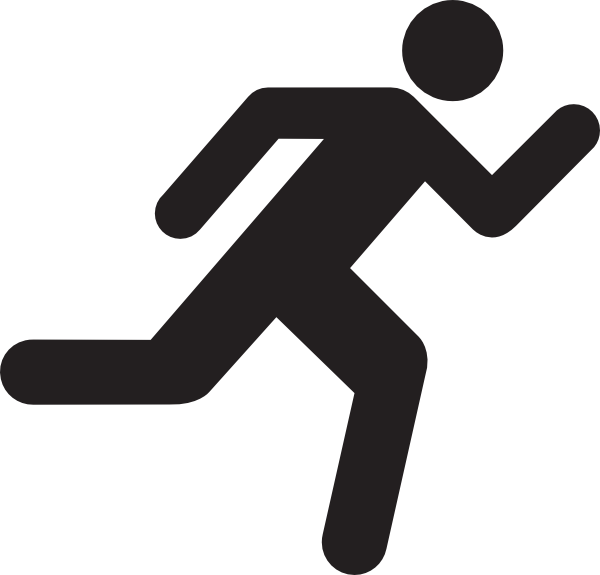 freeuse stock Icon on transparent background. Drawing running figure