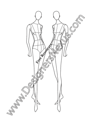 graphic free library Figures drawing. Female fashion figure pose.