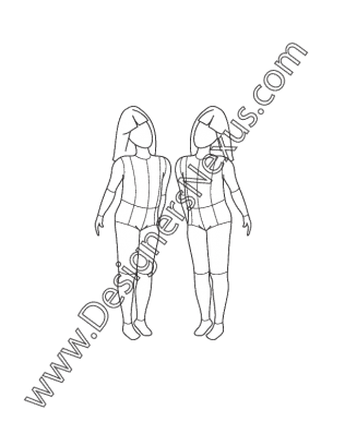 vector transparent stock Childrens fashion figure croqui. Figures drawing.