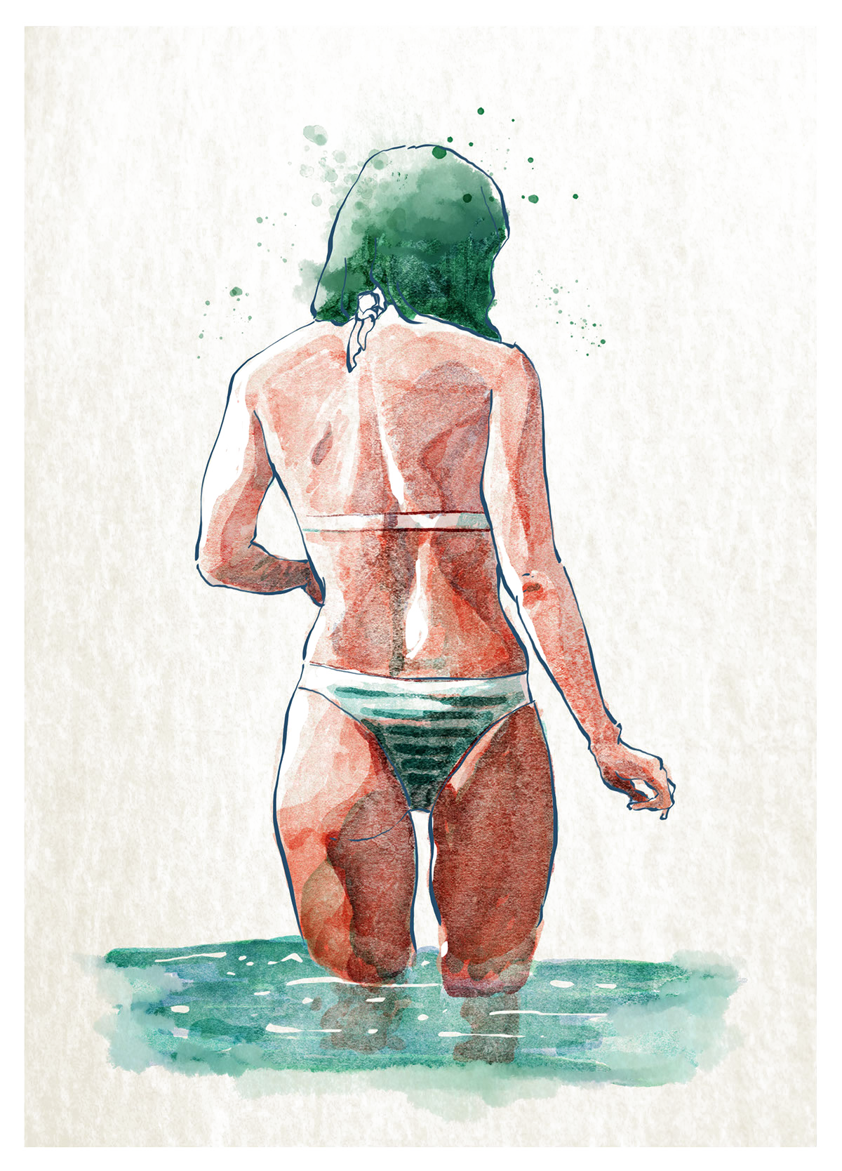transparent stock Bikini drawing illustration. Watercolor painting hand painted