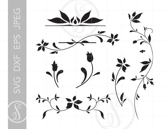 clip art free Filigree svg. Floral dxf eps jpeg.