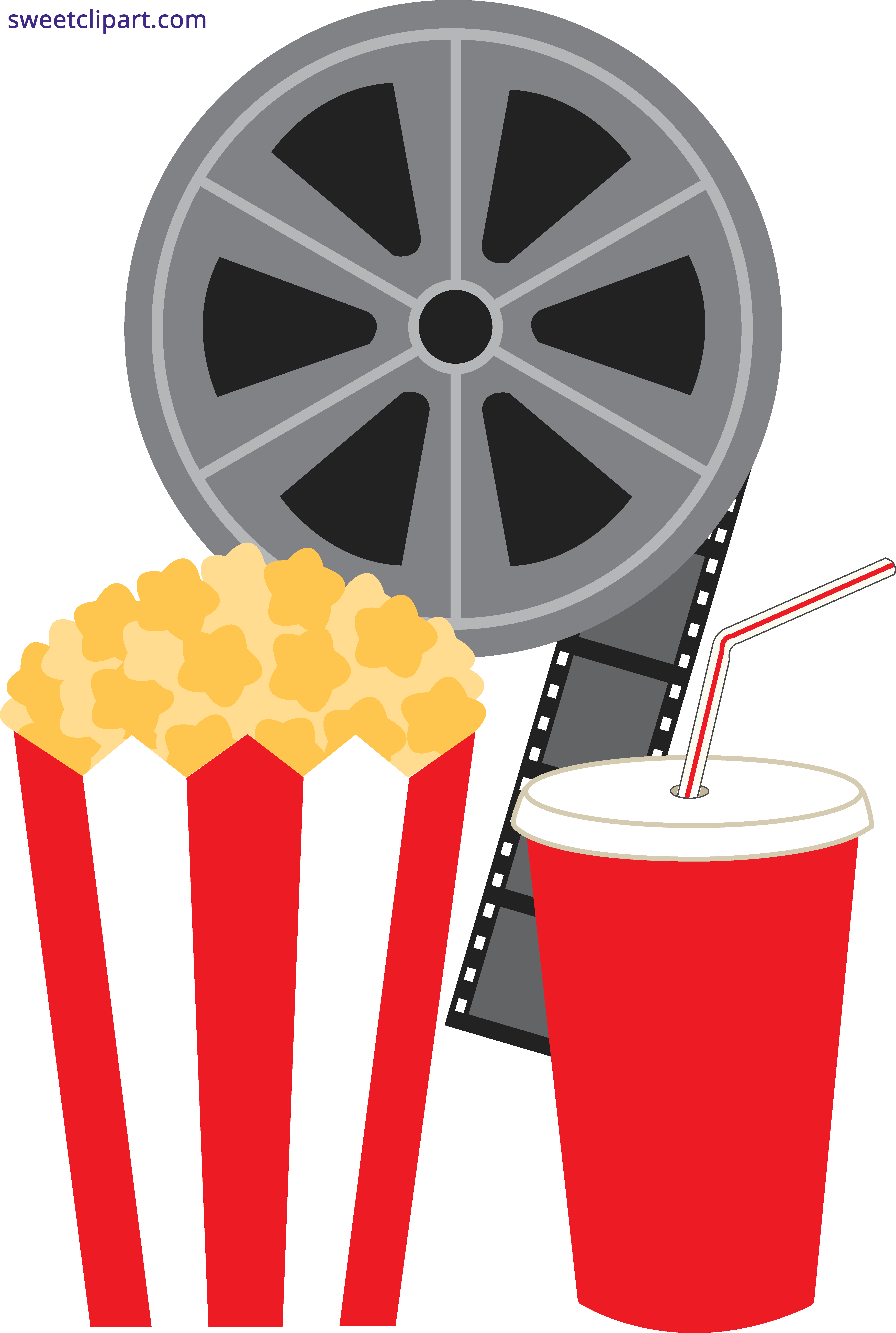 black and white library Popcorn and movie sweet. Soda clipart.